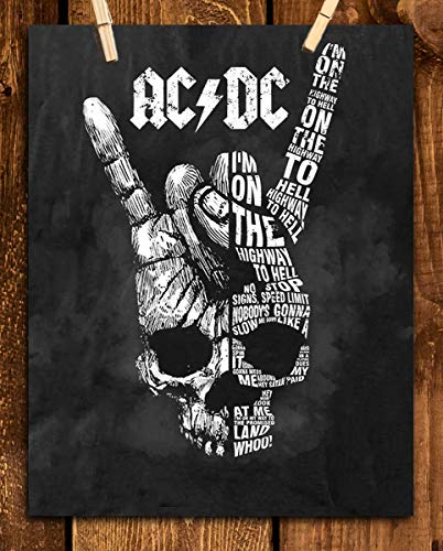 """AC~DC Band Song Art Poster""""Highway To Hell""""- 8 x 10 Wall Print- Ready To Frame. Iconic Rock Song Poster Print. Home-Studio-Bar-Dorm-Man Cave Decor. Perfect Gift For All AC/DC Fans."""