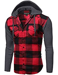 Men's Long Sleeve Button Down Chest Pocket Checkered Plaid Flannel Shirt