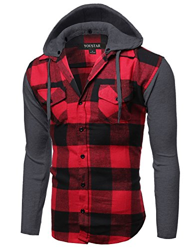 Plaid Checkered Detachable Hoodie Color Contrast Flanel Shirt Red Black Size L
