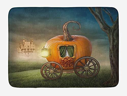 Kids Bath Mat, Abstract Fairytale Image with Orange Pumpkin Fictional Scenery Princess Ella Image, Plush Bathroom Decor Mat with Non Slip Backing, 23.6 W X 15.7 W Inches, Multicolor