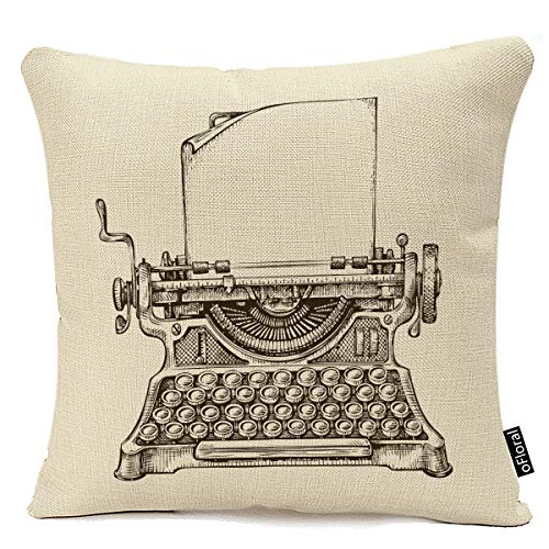 Decorative Throw Pillow Covers for Couch Sofa Bed Writer Hand Drawn Vintage Typewriter Sketch Publishing Old Editor Decorative Pillow Case Home Decor Square 18x18 Inches Pillowcase Cotton Linen