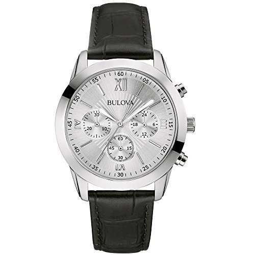 Bulova 96A162 Classic Silver Dial Chronograph Black Leather Strap Men's (Bulova Mens Black Strap Watch)