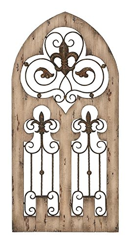 Deco 79 Wood Metal Wall Decor, 50 by 24-Inch (Rod Stands Iron)