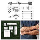 Tattify Arrow Themed Temporary Tattoos - Get Poked (Set of 14) Long Lasting, Waterproof, Fashionable Fake Tattoos