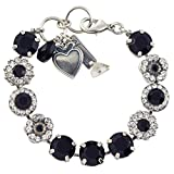 Mariana Checkmate Tennis Bracelet, Silver Plated With Black and Clear Crystal, 8'' 4084 280-1