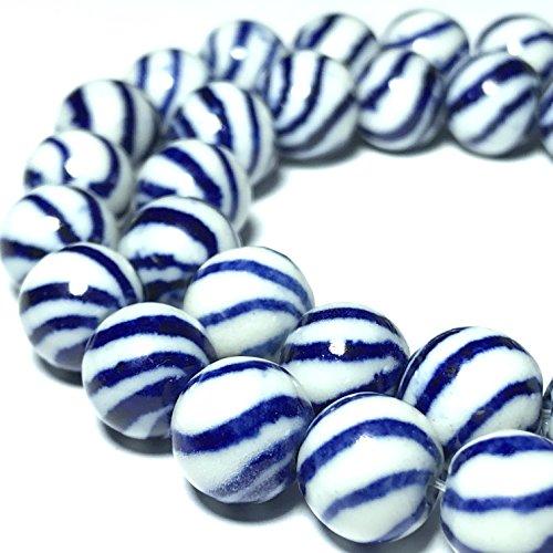 Ceramic Porcelain Vintage ([ABCgems] Vintage Ceramic Porcelain (Swirl/ Ocean Wave) 10mm Smooth Round Beads)