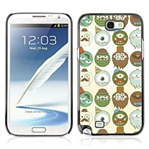 CaseCaptain Carcasa Funda Case - Samsung Galaxy Note 2 II / Funny Monster Pattern /