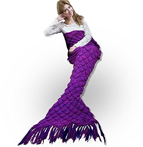 [Coopache Mermaid Tail Blanket For Teens Adult Handmade Crochet Knitting Blanket Seasons Warm Soft Living Room Sleeping Bag Best Birthday gift (Fish-scales] (College Girls In Costumes)
