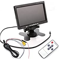 Wen&Cheng 2CH 7 Inch TFT LCD Screen Color Monitor + Wireless IR Remote Controller For Auto Car VCR Mobile DVR Backup Camera