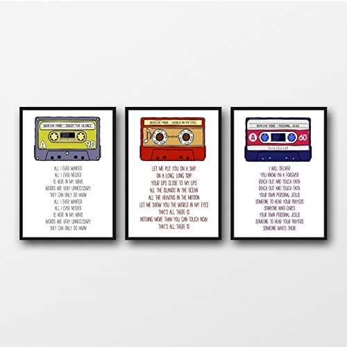 Set of 3 Depeche Mode Violator Lyrics Unframed Prints - Unframed Tipografía Impresiones