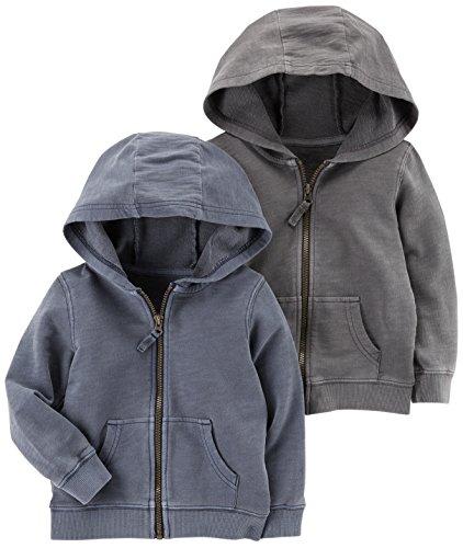 Toddler Full Zip Hoodie (Carter's Toddler Boys' 2-Pack Full Zip Hoodie, Grey/Navy, 2T)