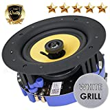 """Gravity Premium SG-6HiBT 6.5"""" 200 Watts Bluetooth Flush Mount In-wall In-ceiling 2-Way Universal Home Speaker System with Polypropylene Cone Titanium Tweeter Stereo Sound Easy to Install Adapter"""