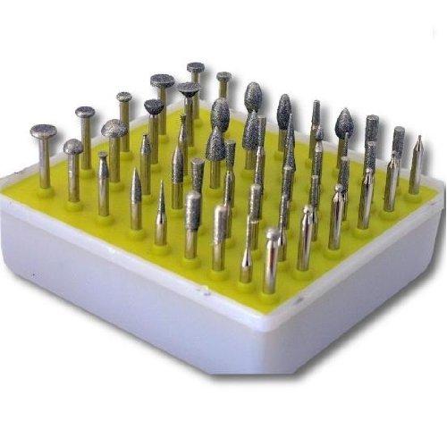 Kent Blades 50 pcs Kit Diamond Coated Rotary Burrs Small Head Style, MEDIUM GRIT 120 GLS-324