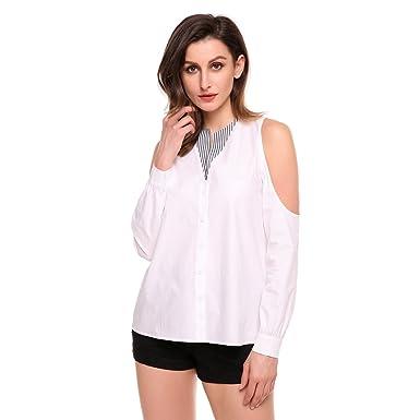 b74acd4f2ea0a Women s Cold Shoulder Button Down Shirt