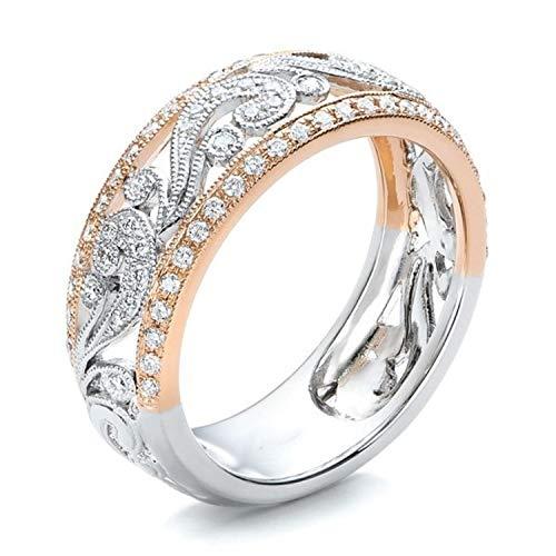 (Hollow Two-Tone ColRose Gold Flower Cubic Zirconia Ring Popular Rhinestone Wedding Rings Women Rold 8)