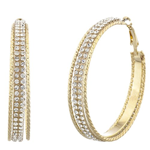Lux Accessories Goldtone and Crystal Pave Double Row Cutout Hoop Earrings (Row Cut Out)