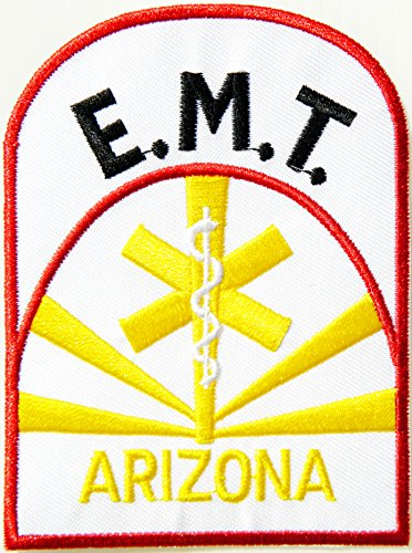 [EMT ARIZONA EMERGENCY MEDICAL TECHNICIAN Ambulance Logo T shirt Jacket Uniform Patch Sew Iron on Embroidered Sign Badge] (First Responders Costumes)