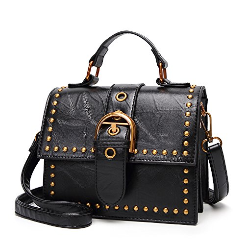 Mujeres Portátil Totes Top Black Messenger Bag Hombro Oficina Handle Bolso Crossbody Las Ladies Mini Satchel De qWtcgnT