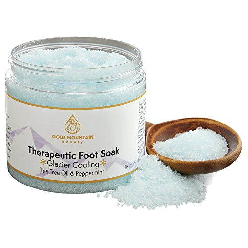 Tea Tree Oil Foot Soak with Epsom Salt. Helps Soak Away Athletes Foot, Fungi Nail, Toe Nail Fungus & Stubborn Foot Odor – Anti-Fungal, Anti-Bacterial, Soften Calluses & Soothes Sore Tired Feet (Blue) by Gold Mountain Beauty