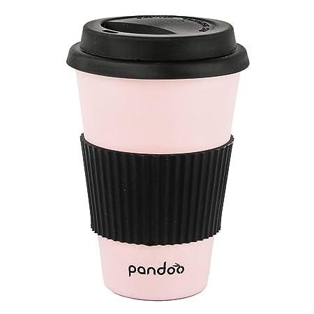 Pandoo Taza de café para Llevar, Bambú, Rosa, 450 ml: Amazon.es: Hogar