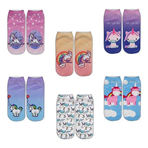 Zmart 6 Pack Women Girls Funny Novelty No Show Unicorn Socks Christmas Gift (Cheap Novelty Gifts)