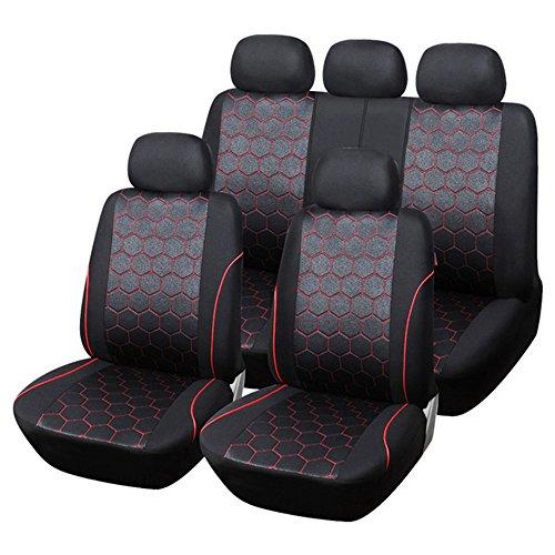 AUTOFAN Soccer Team Full Set Car Seat Covers, Car Seat Protectors Universal Fit Most Car, Truck, Suv, or Van, Black/Red by AUTOFAN