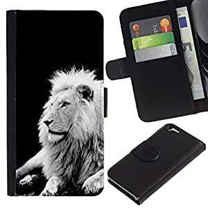 All Phone Most Case / Oferta Especial Cáscara Funda de cuero Monedero Cubierta de proteccion Caso / Wallet Case for Apple Iphone 6 // Lion Black White Mane Majestic Creature