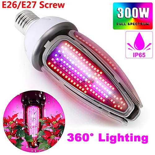 300W Waterproof IP65 Full Spectrum LED Grow Light Bulb, 480Leds Plant Light for Indoor Plant, 360 Degree Lighting, Plant Corn Lamp for Indoor Garden Greenhouse and Hydroponic Grow Tent,E26/E27 Mogul