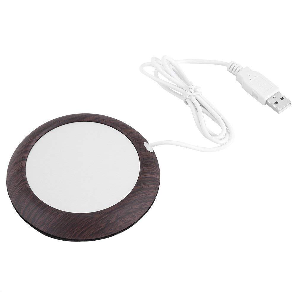USB Wood Grain Cup Warmer Heat Beverage Mug Mat Office Tea Coffee Heater Pad for Office Home(dark wood)