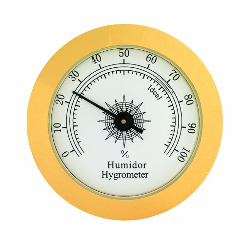 Analog Hygrometer, 1-3/4-Inch Round Glass Analog Hygrometer for Cigar Humidors, by Quality Importers