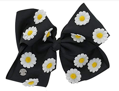 JoJo Siwa Signature Collection Hair Bow - Black with White and Yellow Daisy Flowers ()