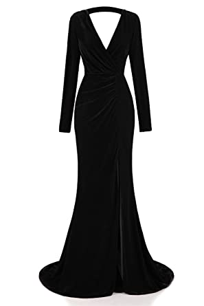Ruolai Womens Velvet Evening Gown Plunging Neckline Prom Dress Long Sleeve Party Gown Black 2