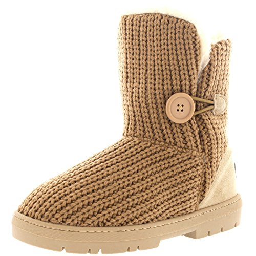 Winter Fur Beige Snow Waterproof Single Boots Womens Button Lined Fully Knitted wqAYzP4