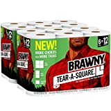 Health & Personal Care : Brawny Tear-A-Square Paper Towels, 12 Rolls, 12 = 24 Regular Rolls, 3 Sheet Size Options, Quarter Size Sheets