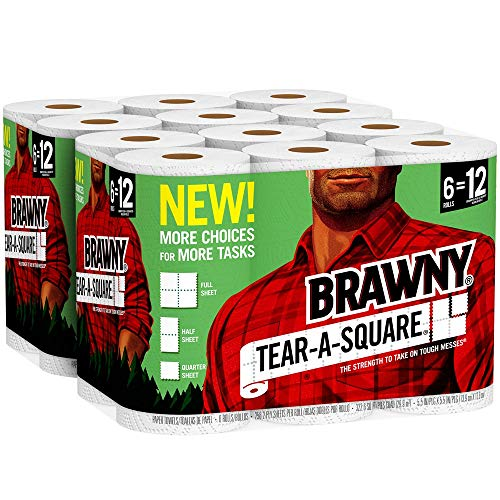 Brawny Tear-A-Square Paper Towels, 12 Rolls, 12 = 24 Regular Rolls, 3 Sheet Size Options, Quarter Size -