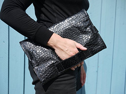 (Elegant leather diaper changing clutch bag, midnight blue mock croc leather purse, perfect baby shower gift, clutch bag which folds out into a changing pad)