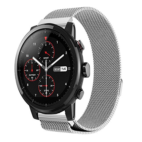 - MoreToys 22MM Milanese Loop Stainless Steel Replacement Accessory Watch Band Wrist Strap Bracelet for Huami Amazfit Stratos Smart Watch 2/2S and Samsung Gear S3 Classic/Frontier (Silver)