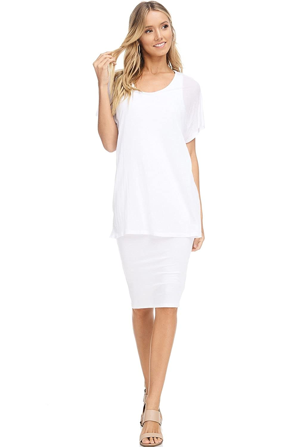 0d81bbfaa6 DETAILS  Lightweight combo jersey knit (regular jersey and ribbed) midi  dress with a top overlay. FABRIC CONTENT  Self  96% Rayon