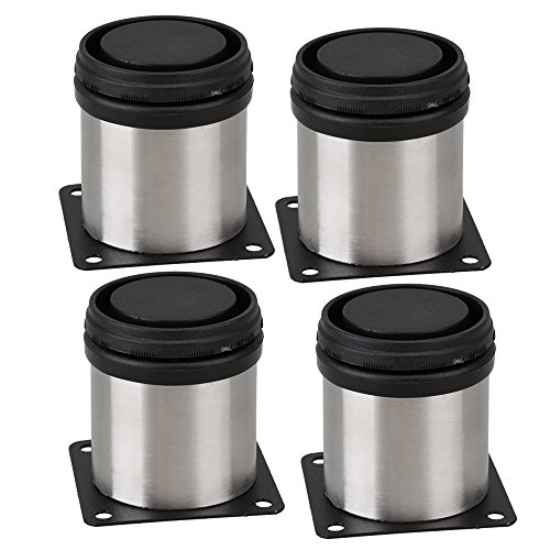 BQLZR Furniture Cabinet Metal Legs Adjustable Stainless Steel Kitchen Feet Round Black and Silver 50 x 60mm Pack of 4