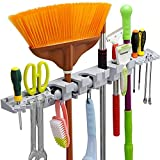 Anybest Broom Holder and Garden Tool Organizer for Rake or Mop Handles with 6 Slots 6 Small Hooks Diameter 1.25 Inches Garage(Gray))