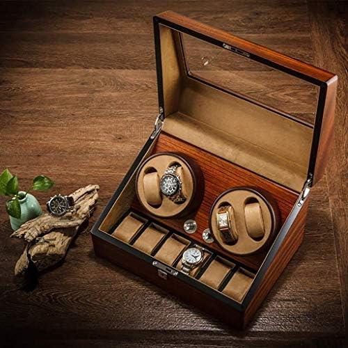 上げ機 自動機械式ウォッチワインダーボックス4腕時計+ 6つの収納ケース自動機械式時計収納ボックス5の回転モード 腕時計ワインディングマシーン