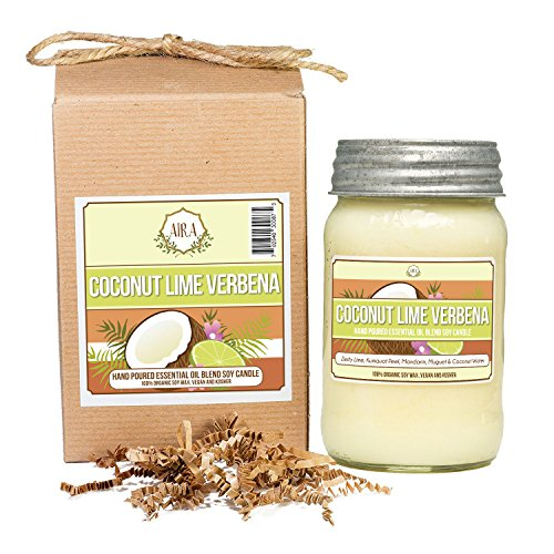 Aira Soy Candles - Organic, Kosher, Vegan, in Mason Jar w/ Therapeutic Grade Essential Oil Blends - Hand-poured 100% Soy Candle Wax - Paraffin Free, Burns 110+ Hours - Coconut Lime Verbena - 16 Ounces