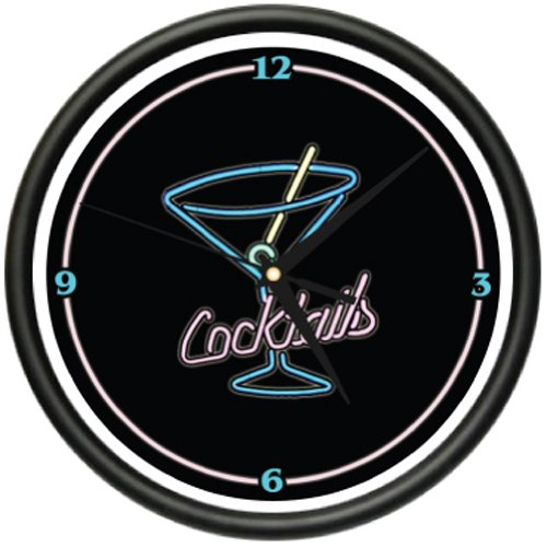 SignMission Cocktails Wall Clock Martini Glass bar Vodka Gin Art, Beagle]()
