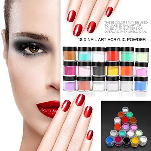 18 Pc Colors Nail Art Acrylic Powder, Swiftswan 3D Nail Art Tips Design Powder Dust UV Gel DIY Decoration Nail Art Tips Polish