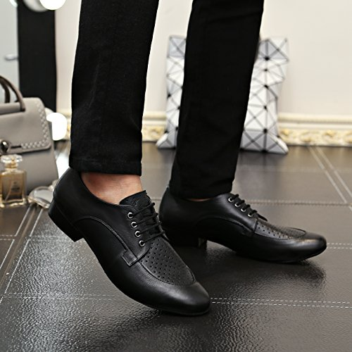 Minishion Boy's Men's Breathable Black Leather Latin Salsa Ballroom Dancing Shoes Formal Dress Shoes US 9.5 by Minishion (Image #6)