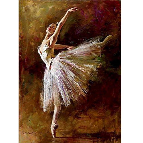 DIY 5D Diamond Painting, Square Crystal Rhinestone Diamond Embroidery Paintings Pictures Arts Craft Cross Stitch Number Kits for Home Wall Decor Decorations, Full Drill (Ballet (Dancer Cross Stitch)