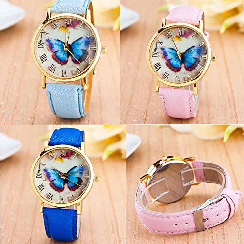 Womens Butterfly Style Leather Band Analog Quartz Wrist Watch Black - 5