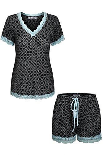 n Spandex Printed V Neck Short Sleepwear Pajama Set with Short Sleeve Short Pants and LaceTrim Black Blue L ()