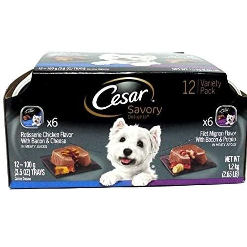 Cesar Wet Dog Food Variety Pack Savory Delights Rotisserie Chicken/Filet Mignon outlet