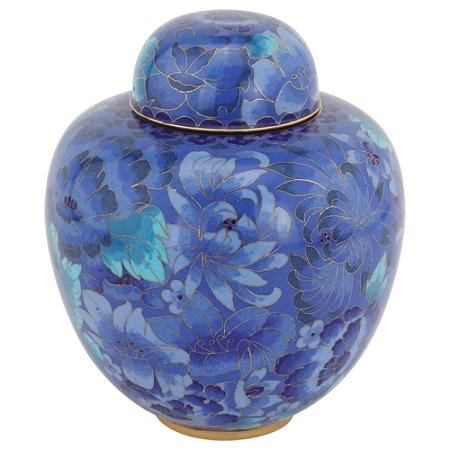 Azure Blue Cloisonne Urn for Ashes, Enameled Metal Funeral Urn, Adult Sized Ornate Urn for Ashes, 9.5 Inches Tall